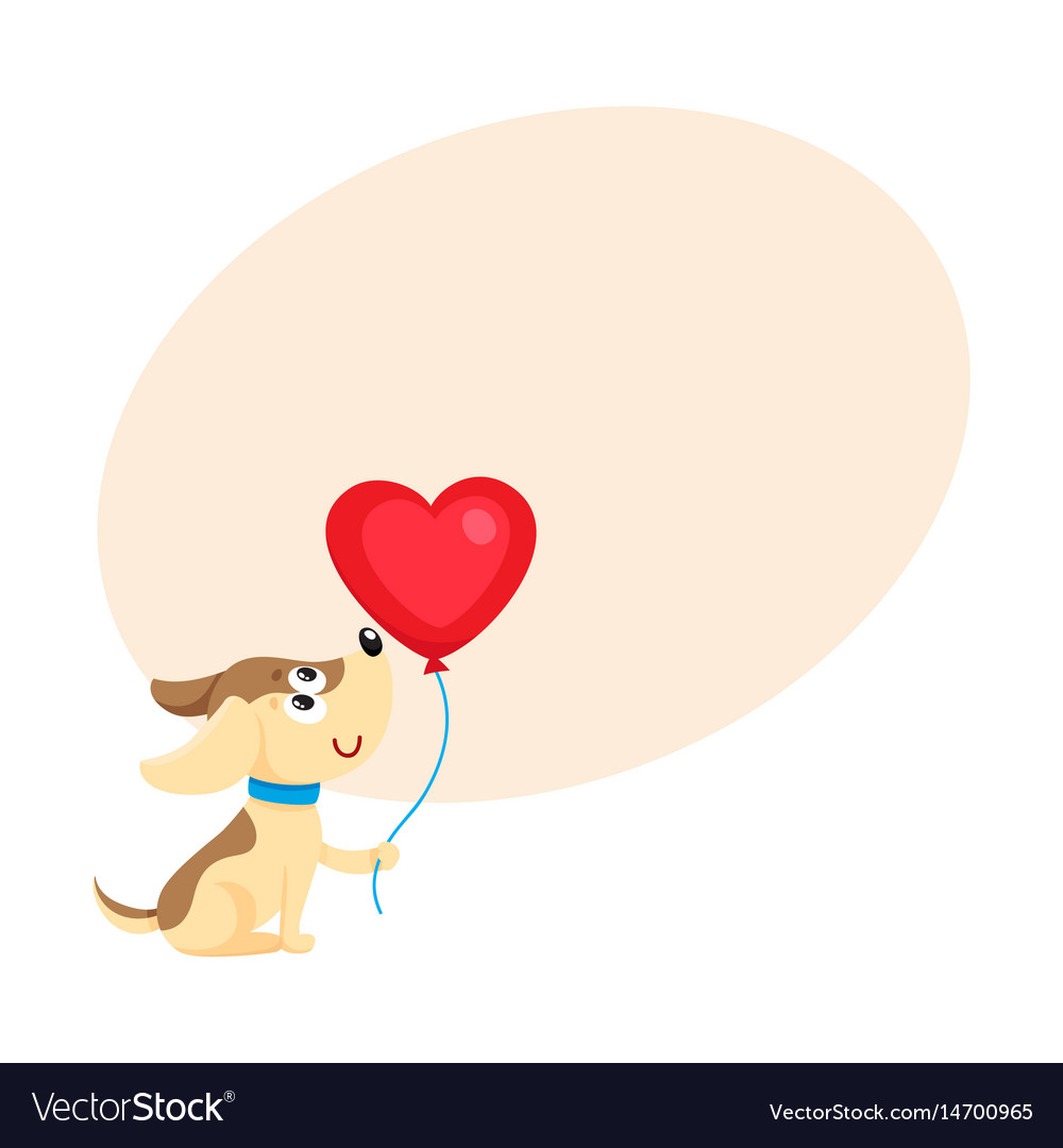 Cute and funny dog puppy holding red heart shaped vector image