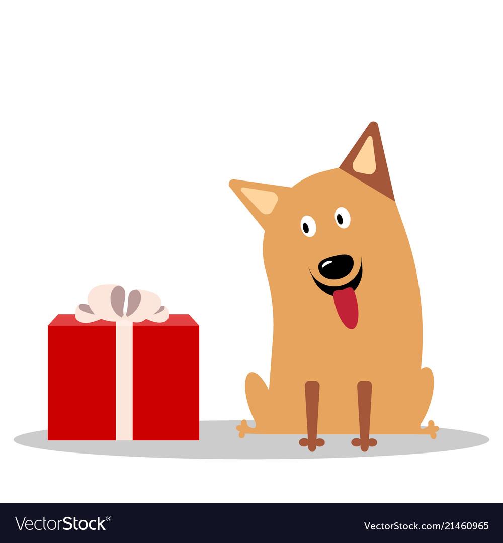 Cute cheerful cartoon dog