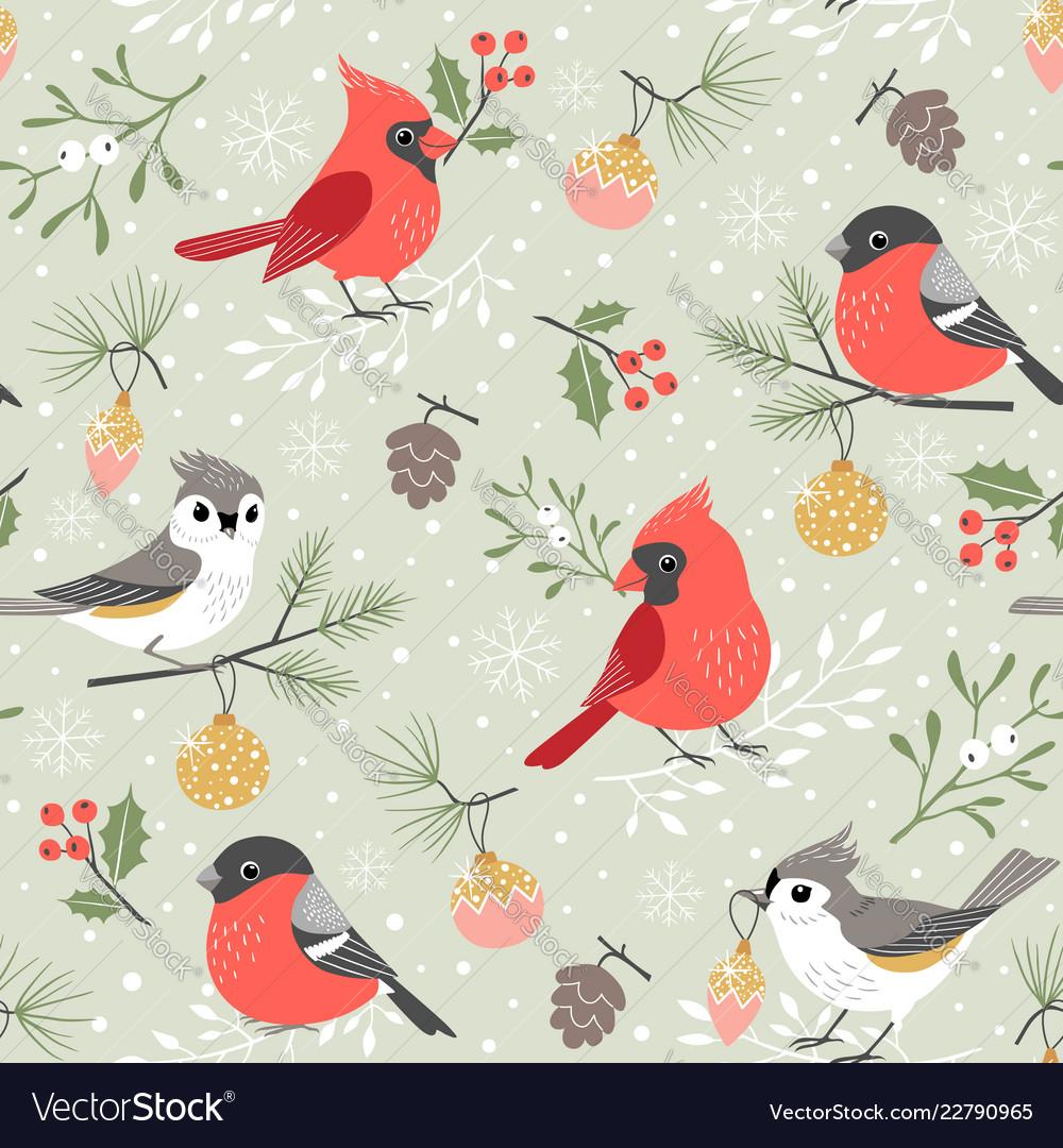 Christmas Bird.Cute Winter Bird Christmas Pattern