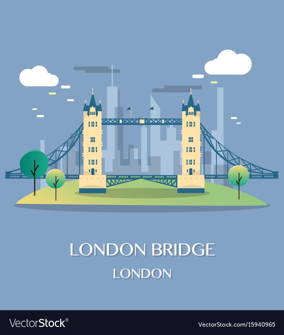 Famous london landmark london bridge vector image