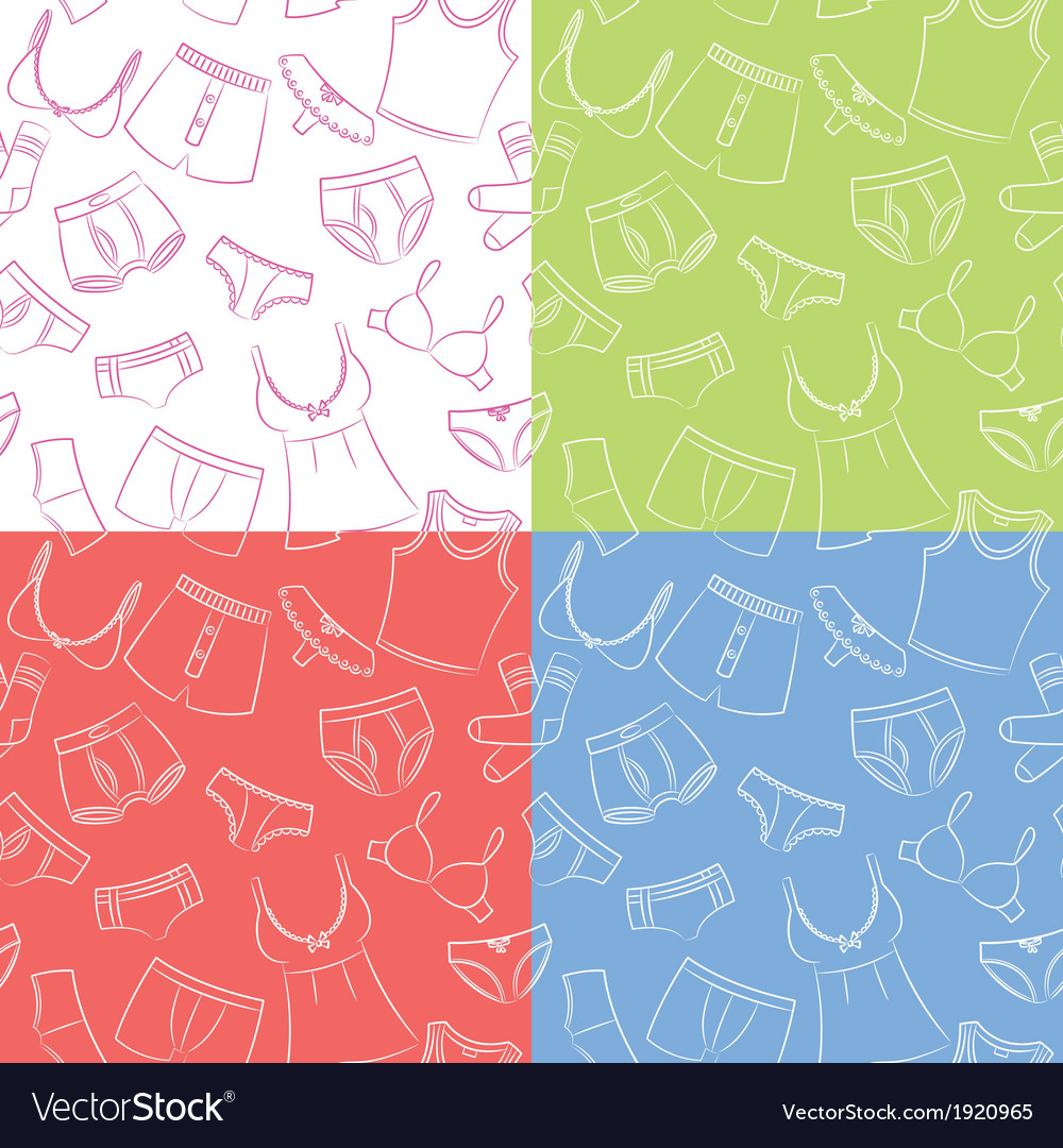 Female And Male Underwear Doodle Seamless Patterns vector image