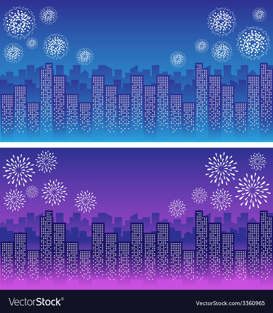 Firework over sky in city night vector image