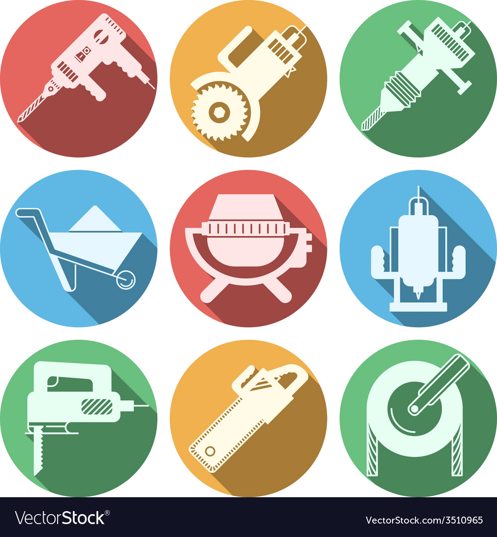 Flat icons for construction equipment