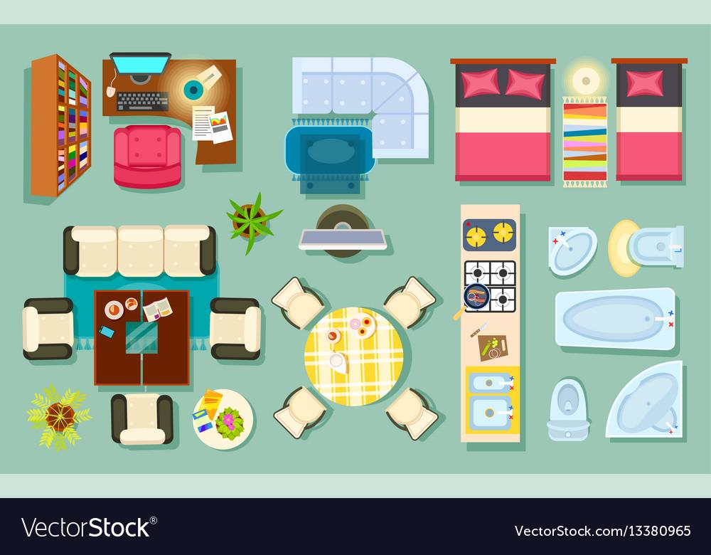 Flat interior top view pieces of furniture design vector image