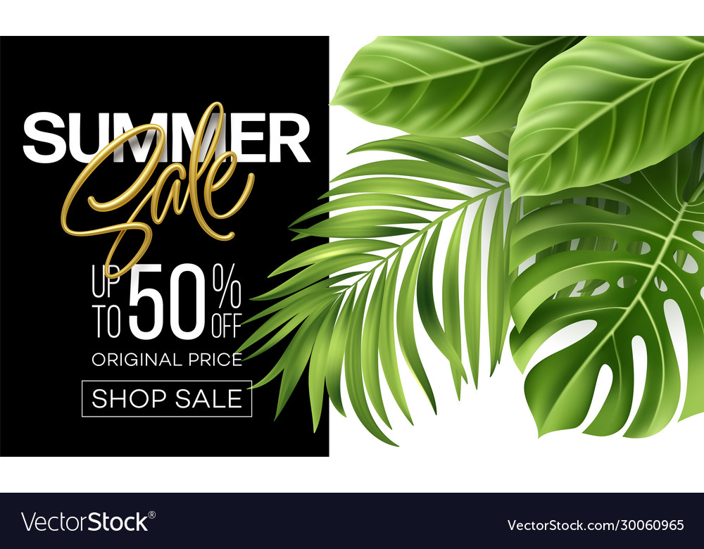 Golden metallic summer sale lettering on a bright