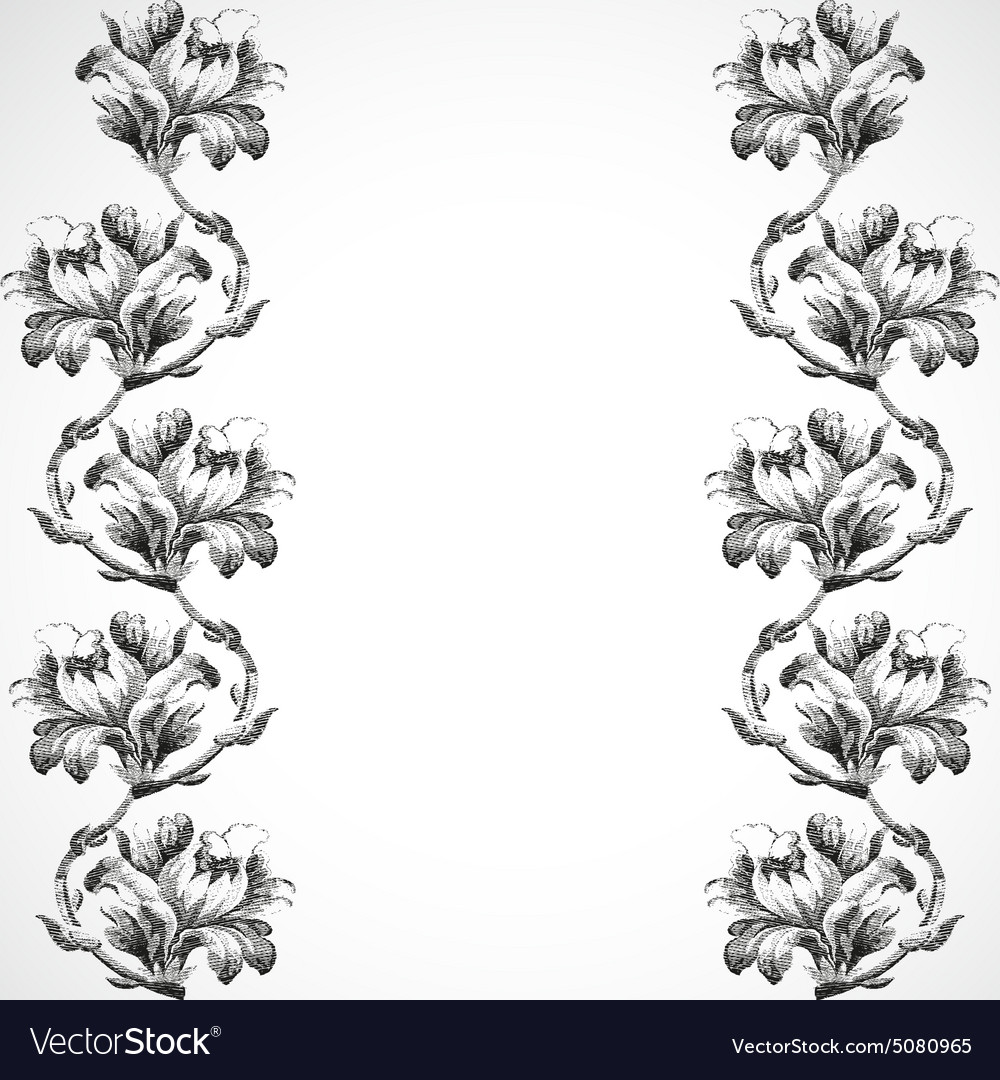 Hand-drawn vertical border flowers of lily vintage