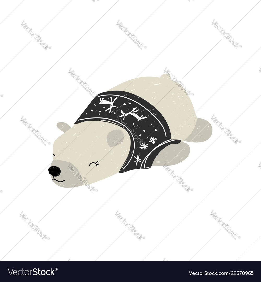 Polar bear sleeping in sweater