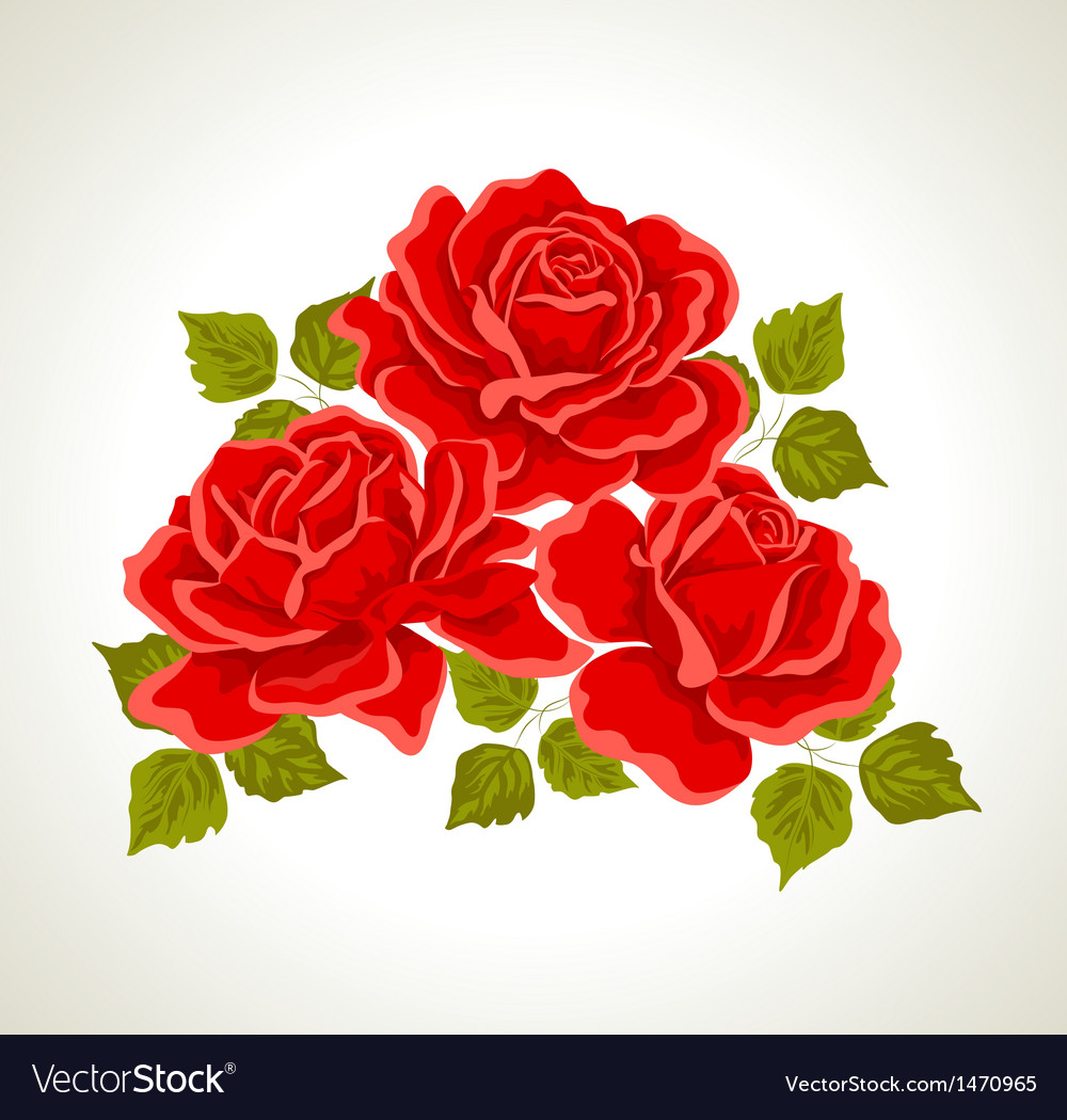 Red Roses With Flowers Bouquet Royalty Free Vector Image