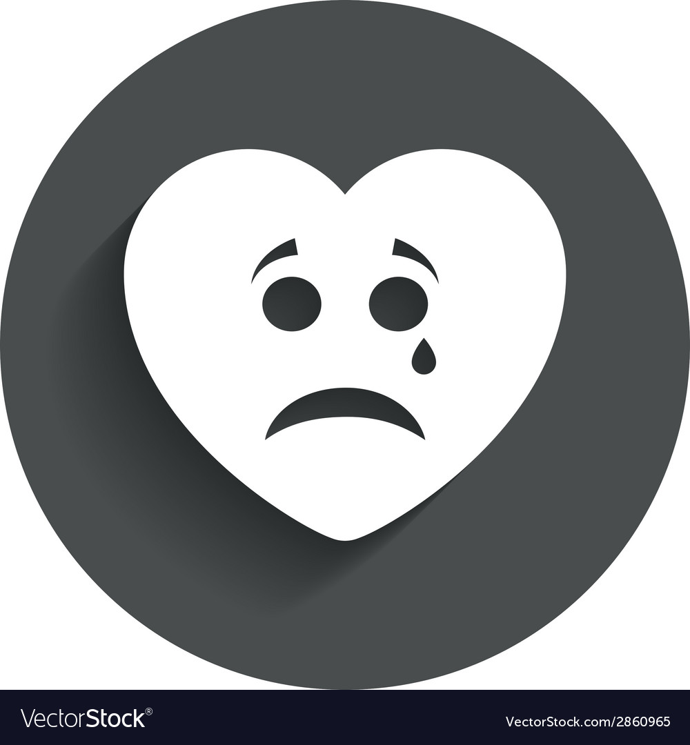 Sad heart face with tear icon Crying symbol