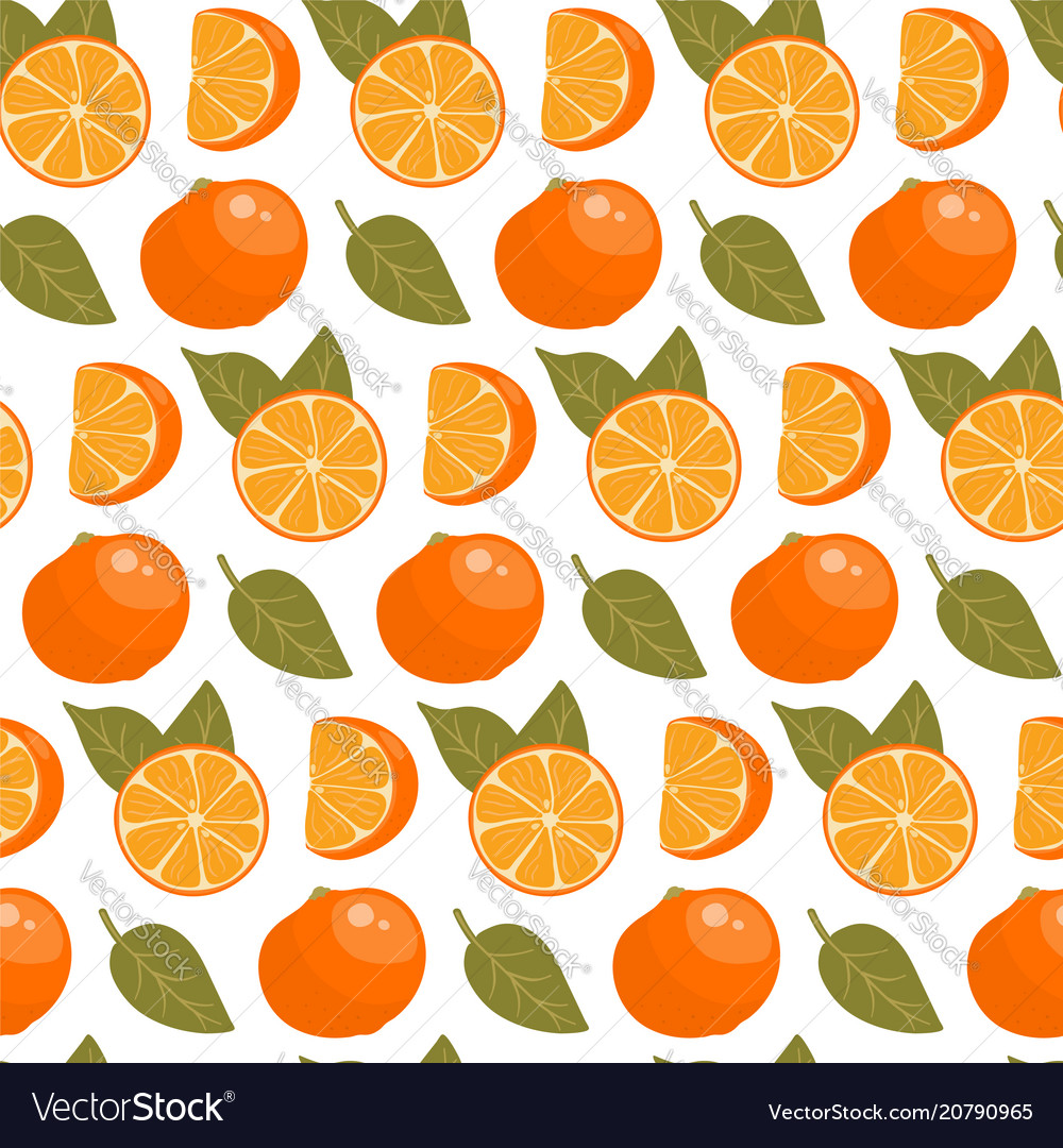 Seamless pattern with oranges slices and leaves