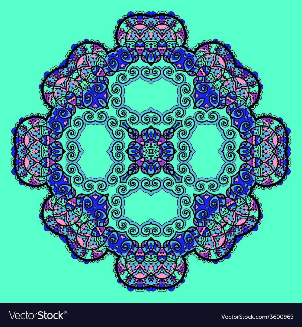Trippy flower Acid art Oriental mandala over vector image