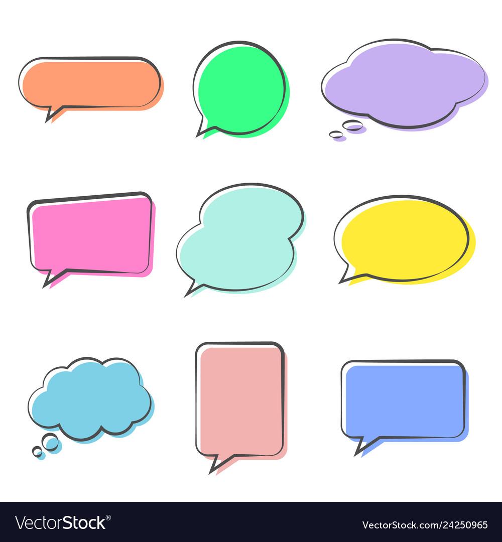 Various cute speech bubble doodle stickers set