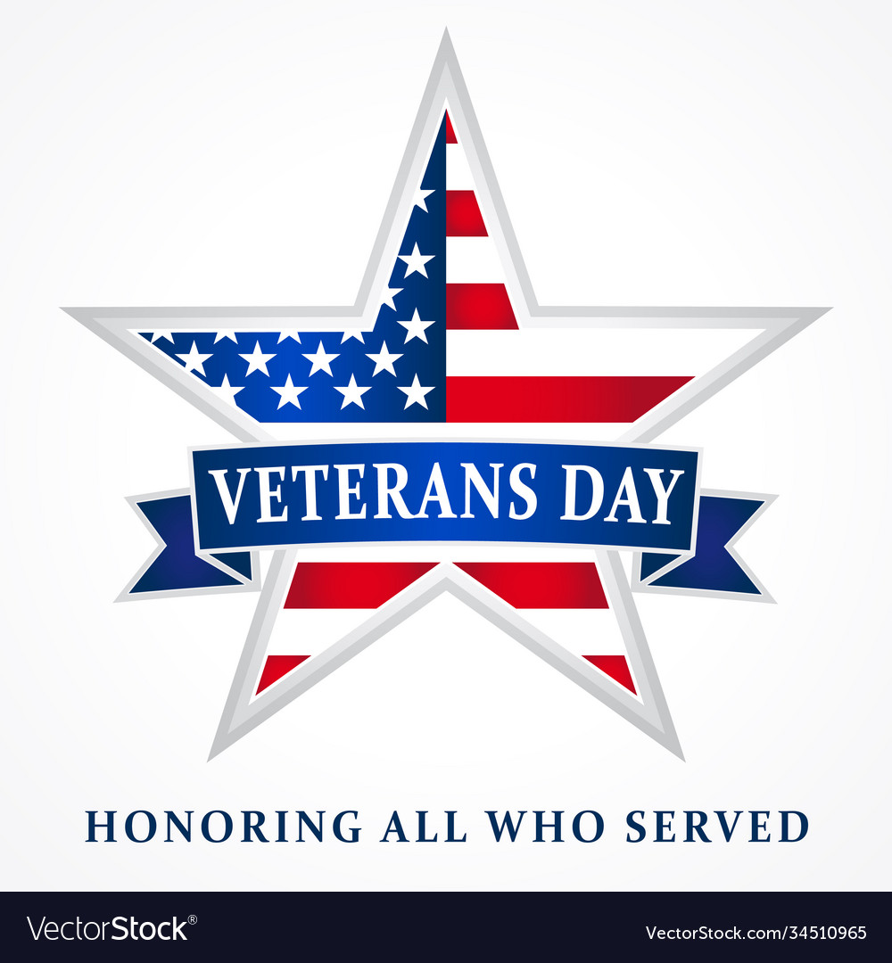 Veterans day usa star ribbon white