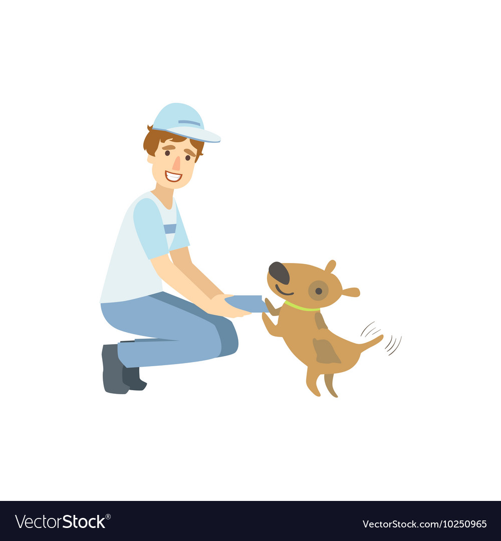 Volunteer Playing With The Rescue Dog vector image
