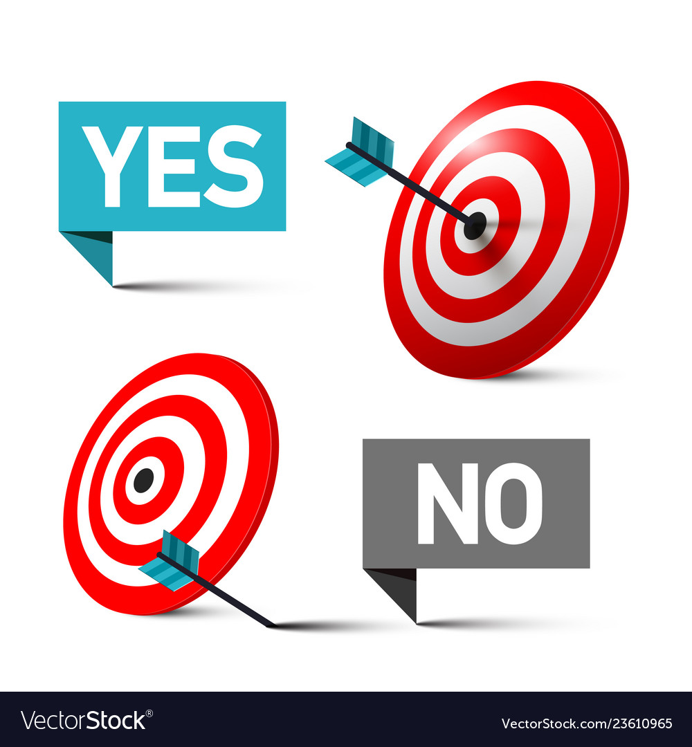 Yes and no symbols with darts in the centre of