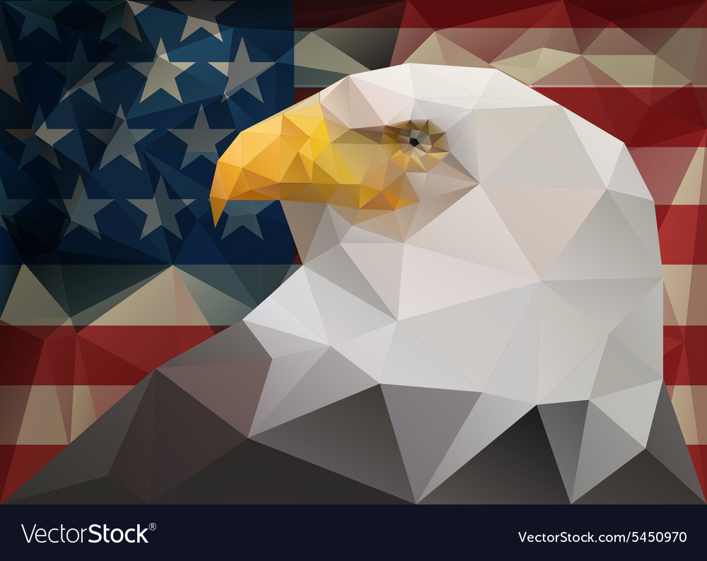Abstract polygonal triangle American bald eagle on