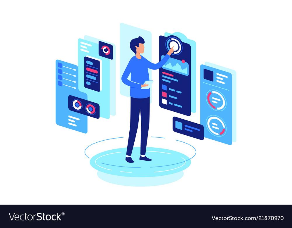 Businessman monitoring indicators states of