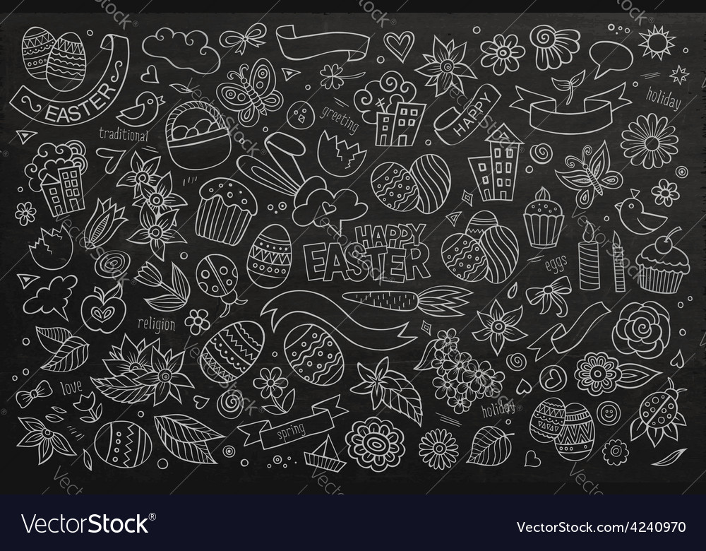 Easter Symbols And Objects Royalty Free Vector Image