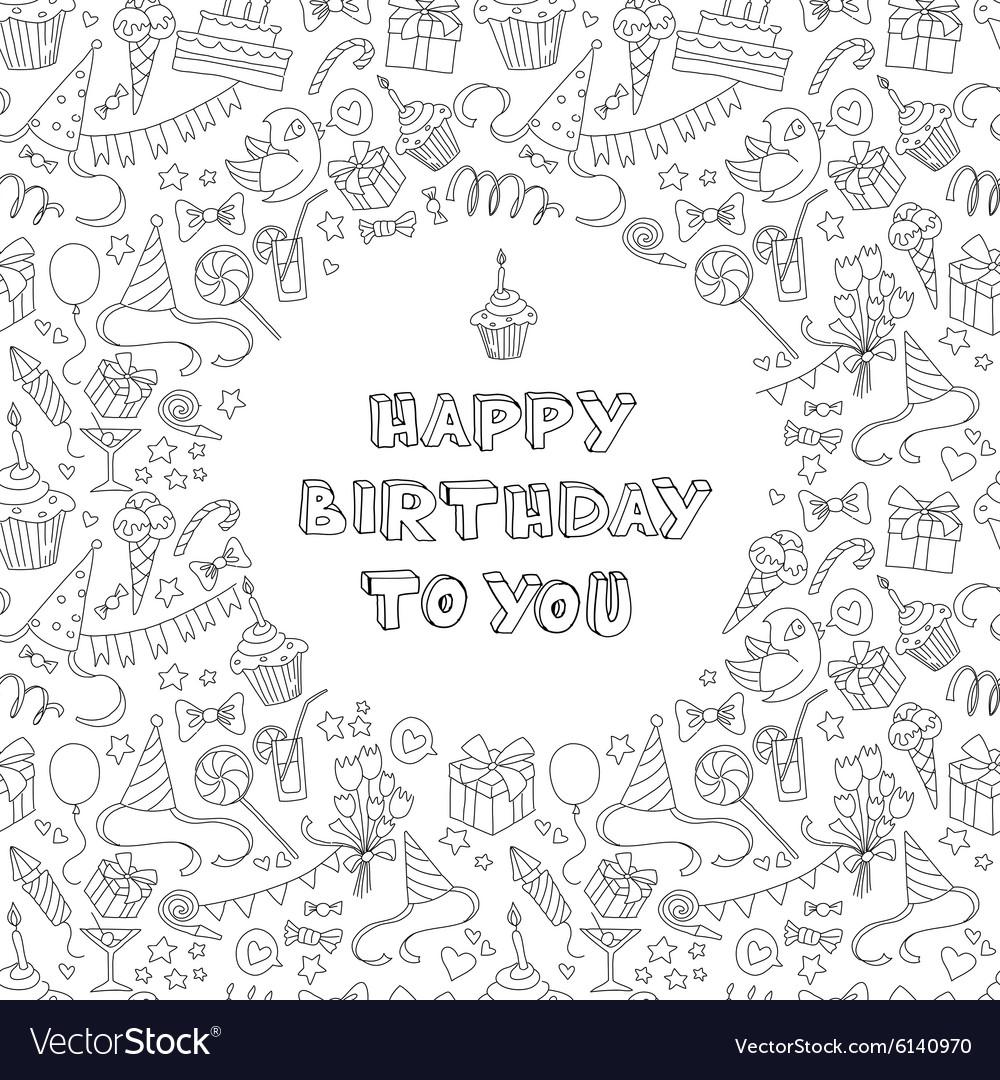 Pleasing Happy Birthday Greeting Card With Hand Drawm Vector Image Personalised Birthday Cards Veneteletsinfo
