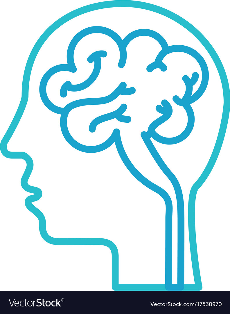 Human head and brain icon mind concept