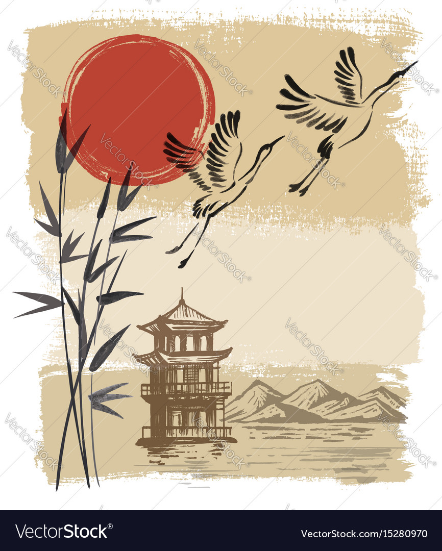 Landscape with sun and storks vector image