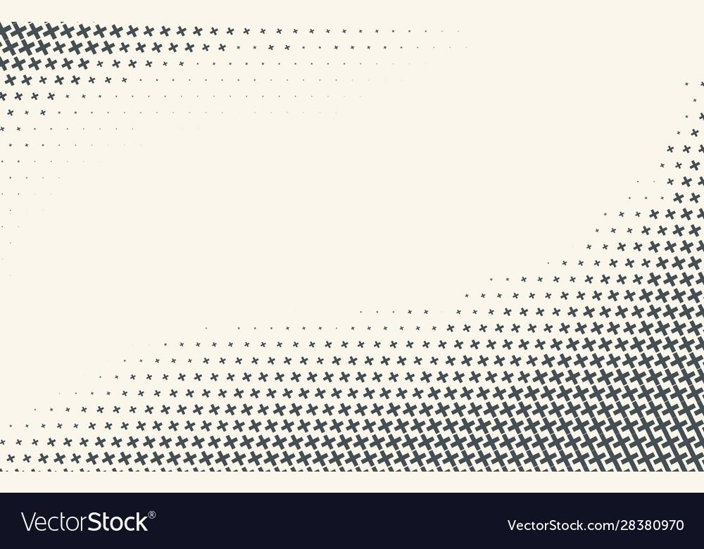 Monochrome halftone gradient with crosses