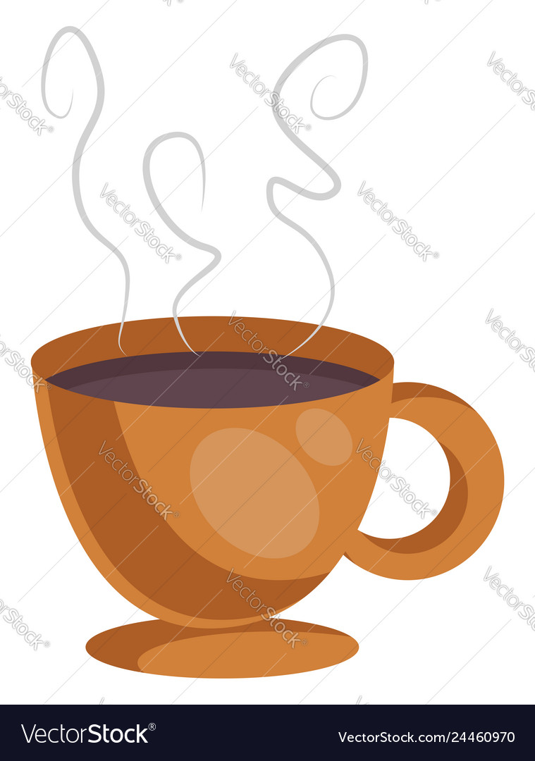 Orange cup of coffe on white background