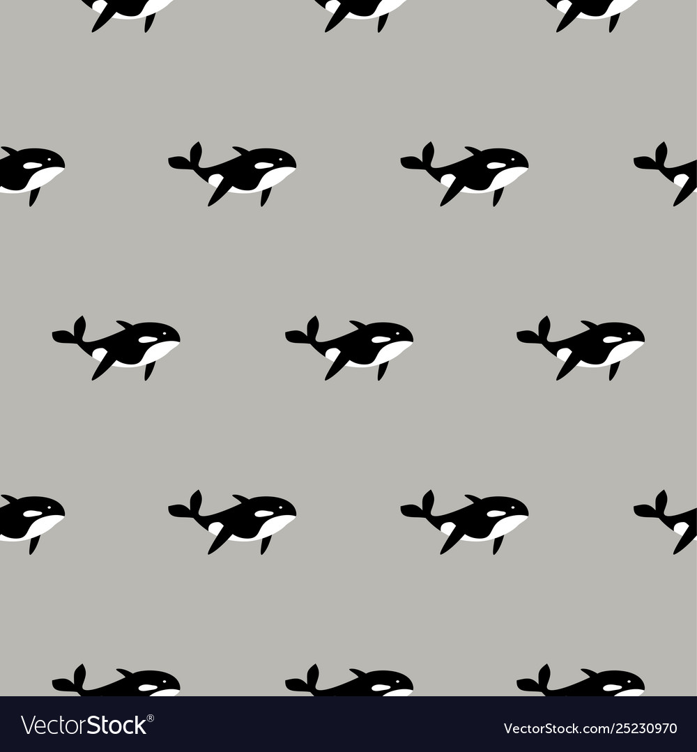 Orca whale seamless pattern cartoon style