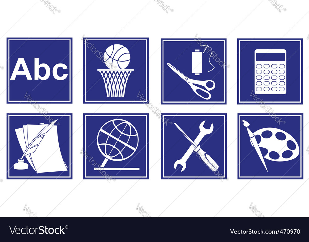 Set Of Educational Symbols Royalty Free Vector Image