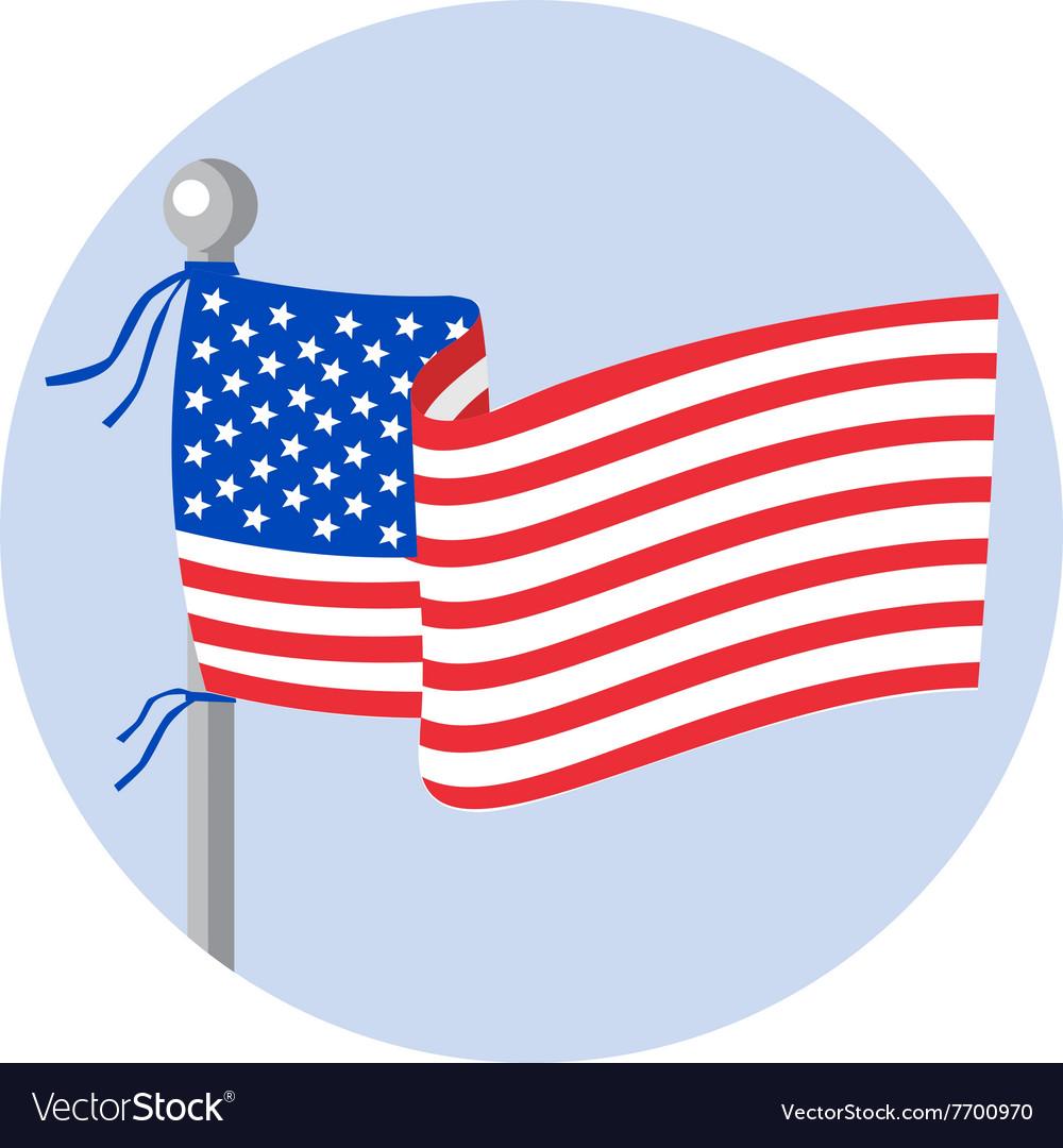 USA Flag Stars and Stripes on Flagpole Circle vector image