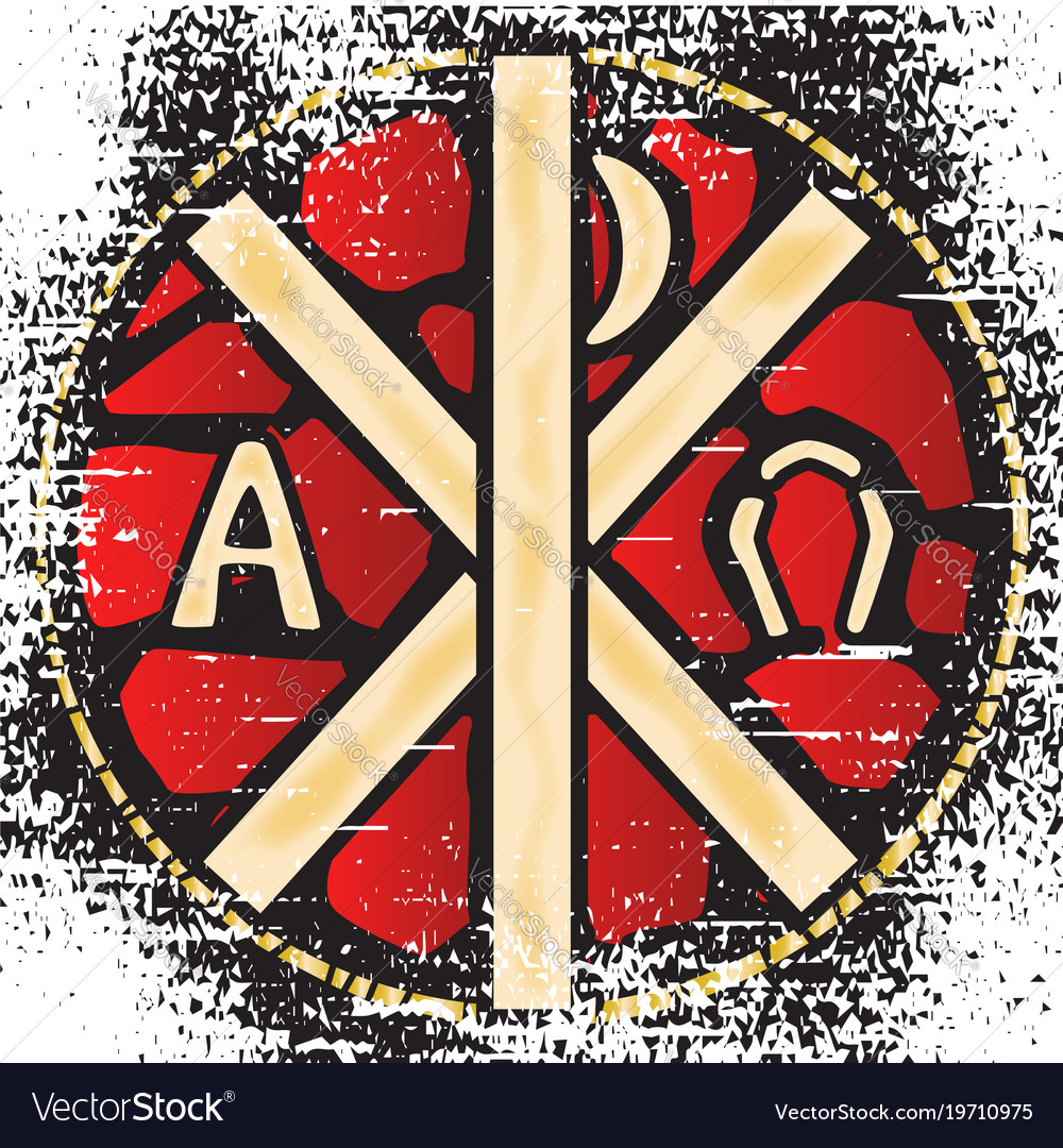 Alpha Omega Stained Glass Royalty Free Vector Image