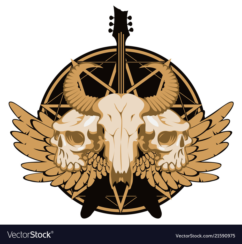 banner with guitar skulls wings and pentagram vector image