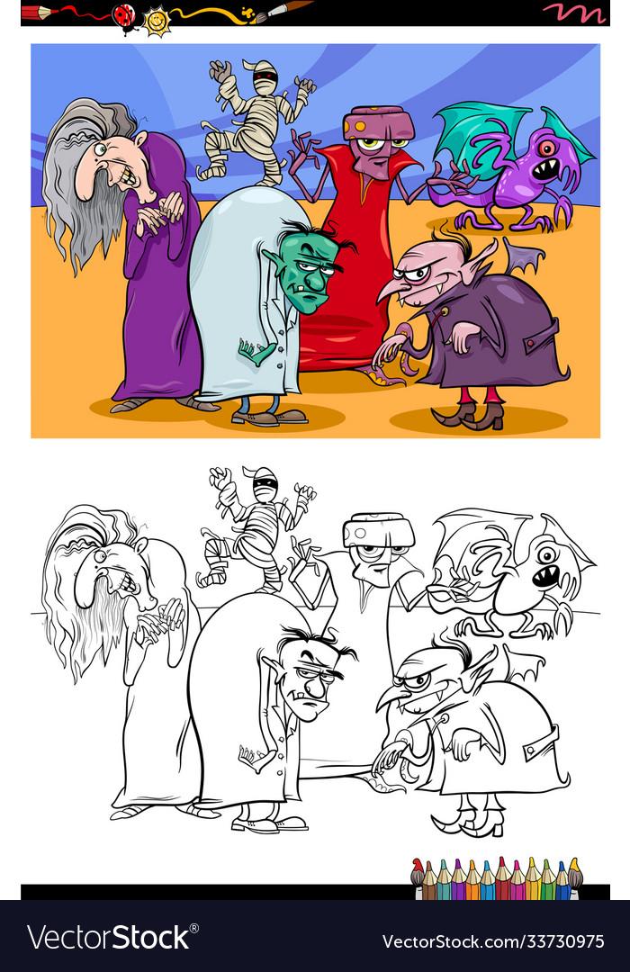 Cartoon monsters fantasy characters coloring book
