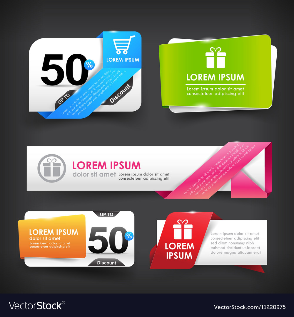Collection of colorful web tag banner promotion