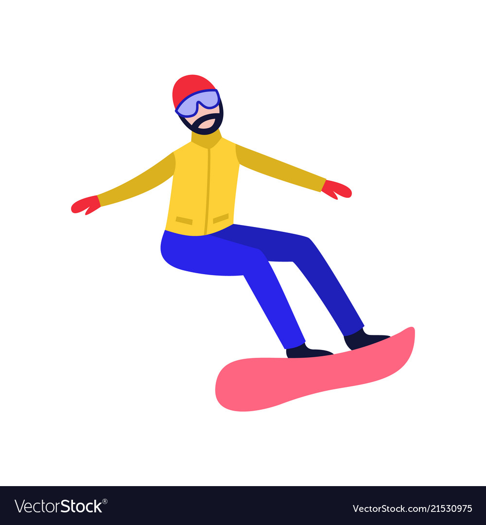 Flat snowboarder man
