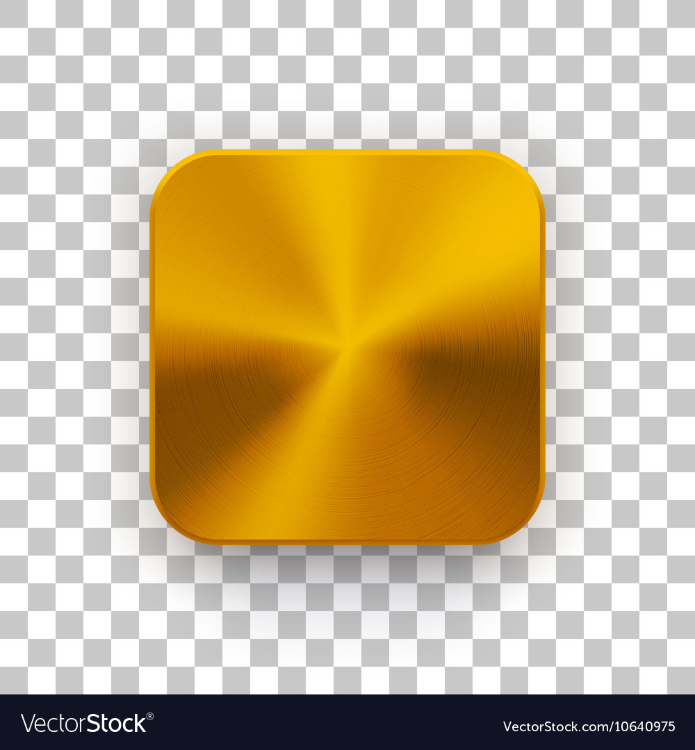 Gold App Icon Template with Metal Texture Vector Image