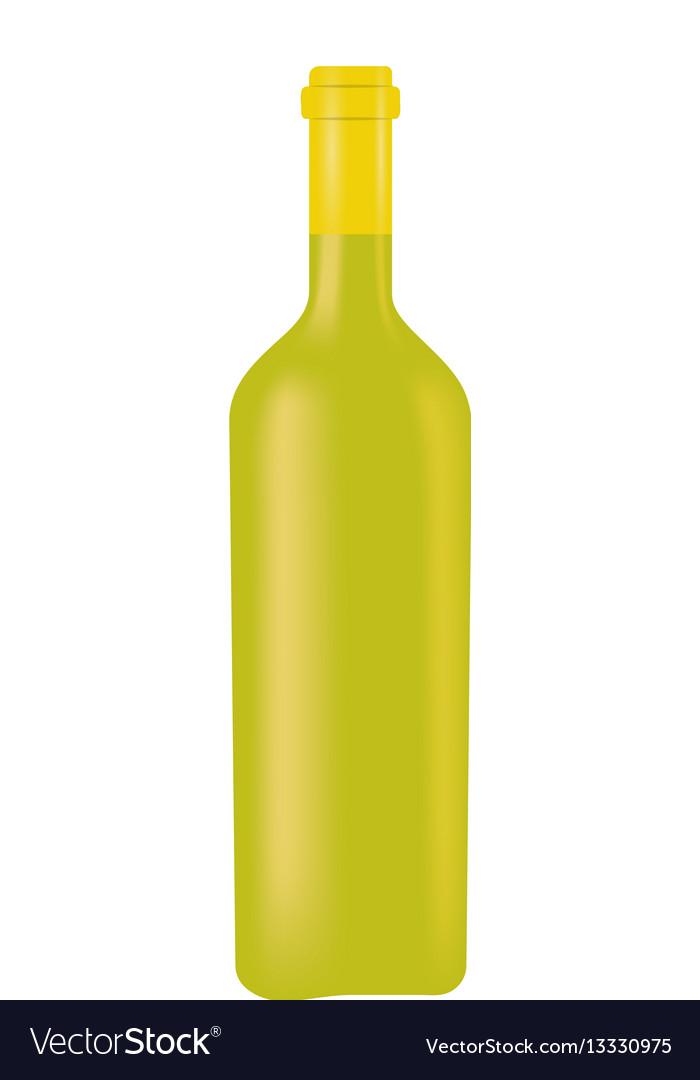 Green glass bottle wine design vector image