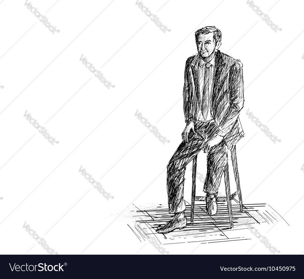 Hand sketch man sitting on the chair vector image