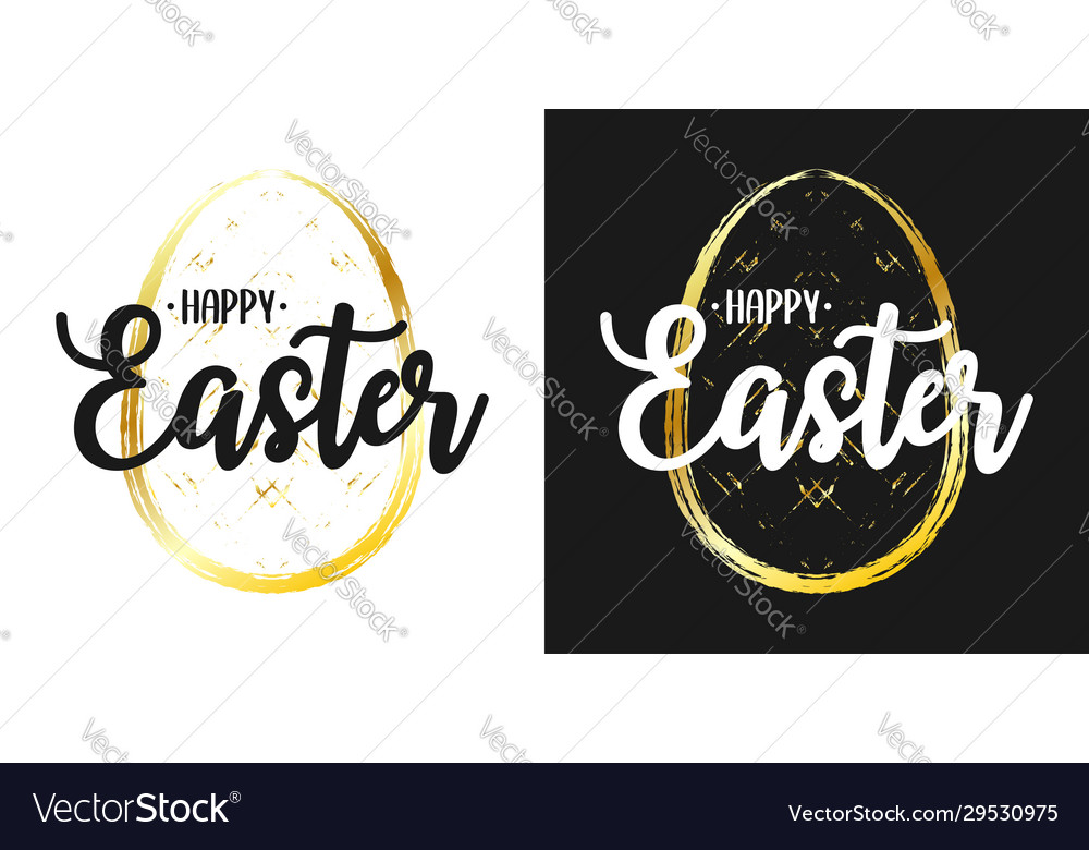 Happy easter text lettering on set easter card