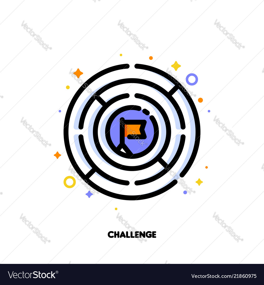 Icon of round labyrinth or maze for business