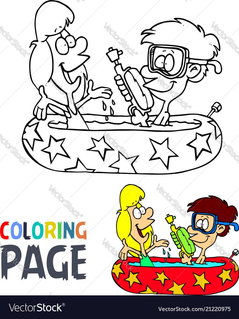 Kids take a bath cartoon coloring page