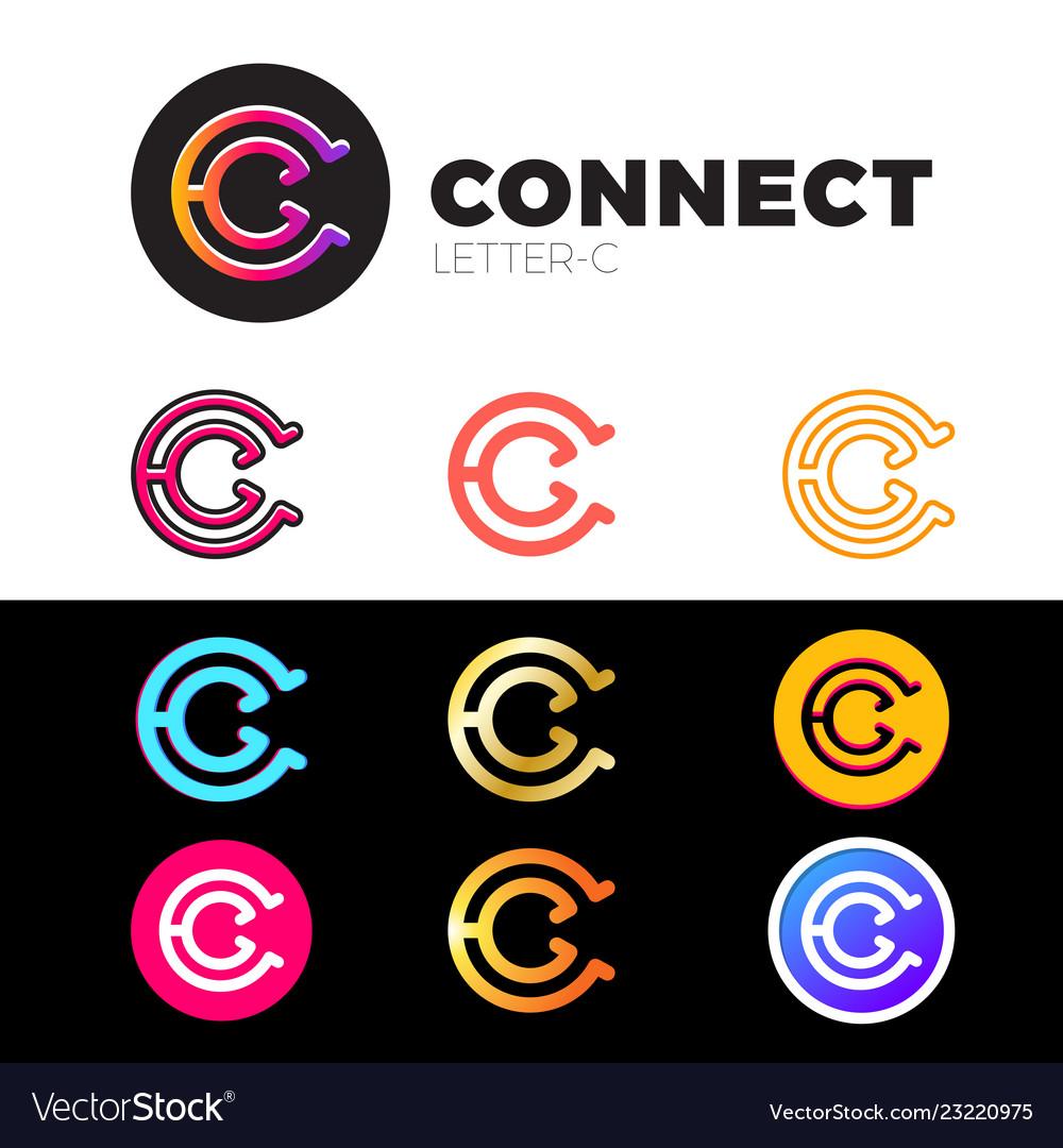 Letter c logo icon design template elements set