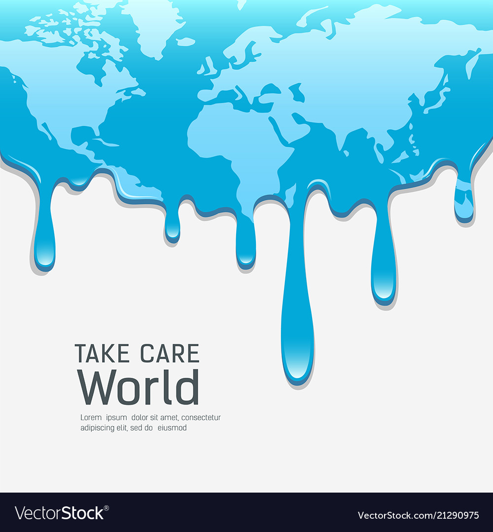Global Warming Concept Map.Melting World Map Concept Global Warming Vector Image