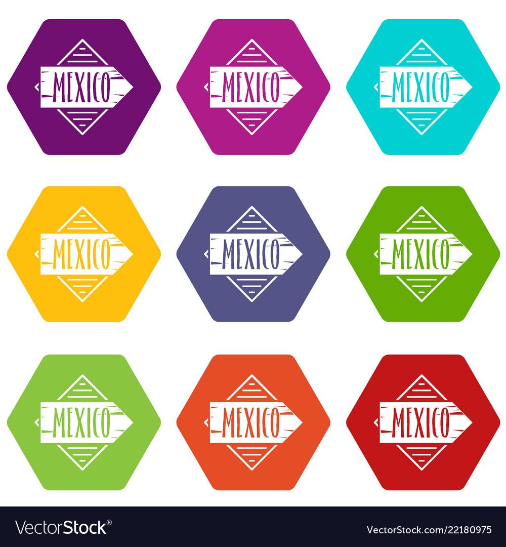Mexico icons set 9