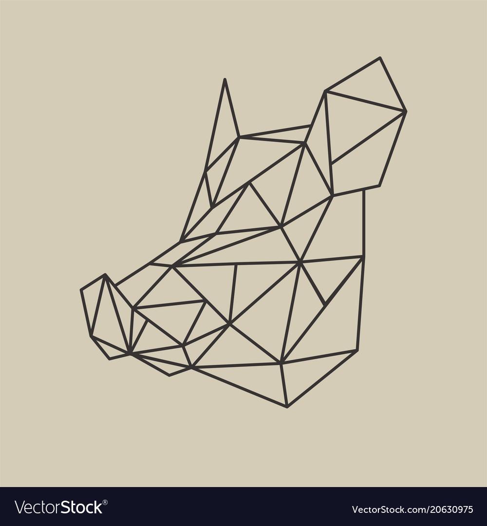 Origami polygonal line style head boar