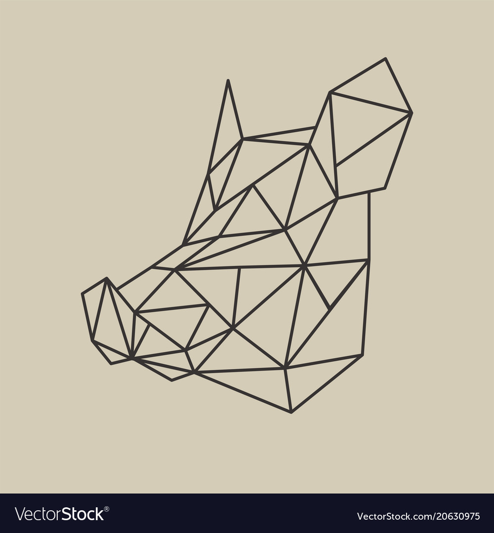 Origami polygonal line style head of boar