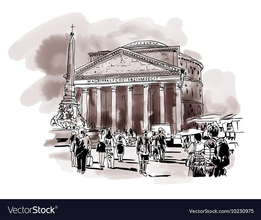 Original freehand watercolor sepia travel card vector image