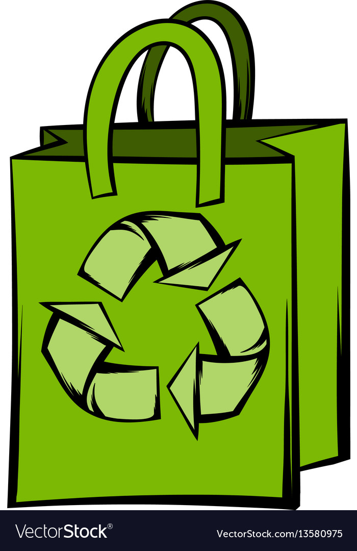 Paper bag with recycle symbol