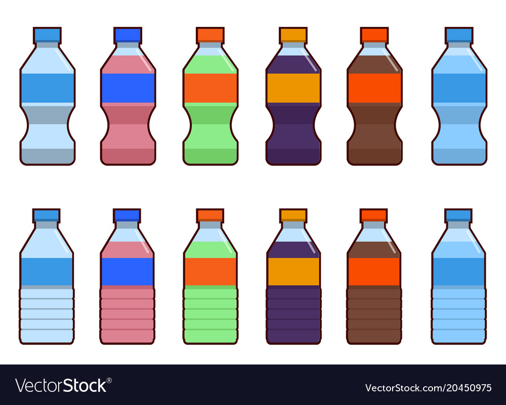 Set of isolated water and soda bottle icon on