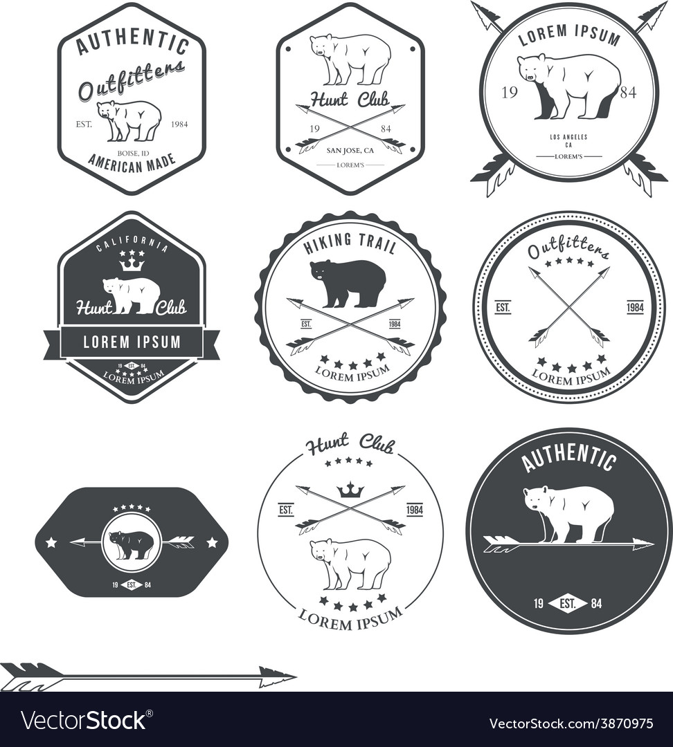 Set of vintage bear icons emblems and labels